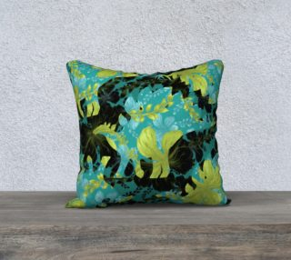 "Jurassic Pillow - Teal & Chartreuse 18"" preview"