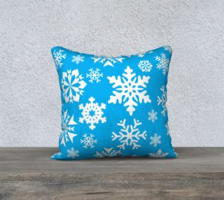 Pretty Teal Turquoise Winter Snowflakes Throw Pillow Cover preview