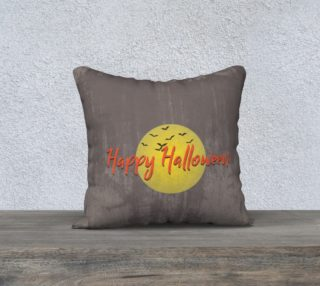 Black & Grey Grunge Gothic Happy Halloween & Bats Pillow Cover preview