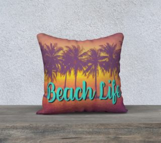 Beach Life tropical palm tree beach pillow cover preview