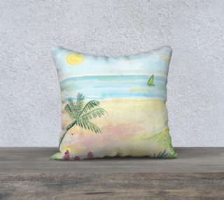 Aperçu de Beach Day Watercolor Pillow