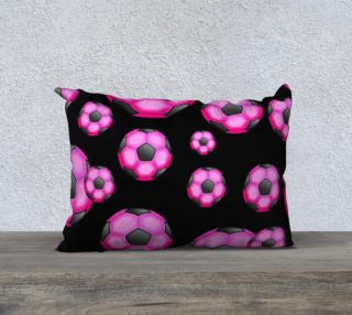 Pink and Black Soccer / Football Pillow Case 20x14 preview