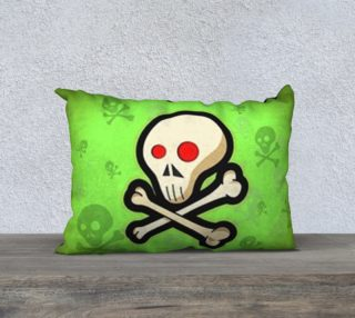 Cartoon Skull On Green 20 x 14 Pillow Case preview