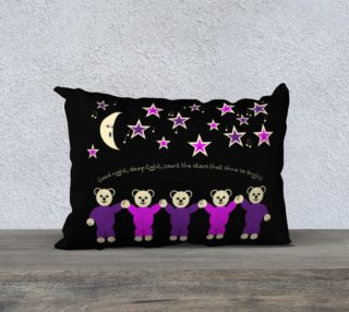 Purple and Pink Sleepy Bears Pillow Case 20 x 14 preview