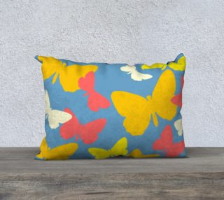 Yellow and Orange Butterflies on Blue Pillow Case 20 x 14 preview