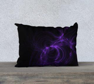 Purple Fractal on Black Pillow Case  20 x 14 preview