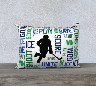 "For the Love of Hockey - Blue and Green Pillow Case - 20""x14"" preview"