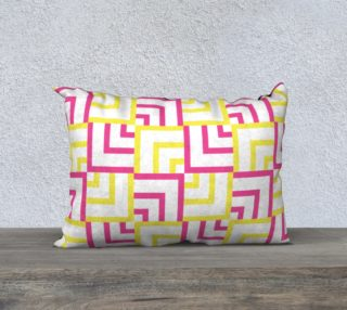 Pink and Yellow Squares 20x14 Pillow Case preview