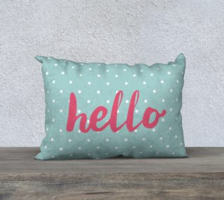 Hello on pastel mint green polka dots background preview