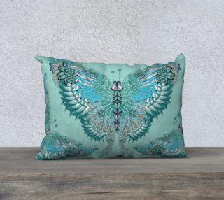 Green flamingo butterflies long cushion preview