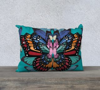 Rainbow butterflies long cushion preview