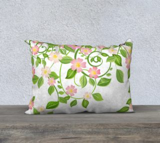 """Serene Floral Forest White Pillow Cover 20"""" X 14"""" preview"""