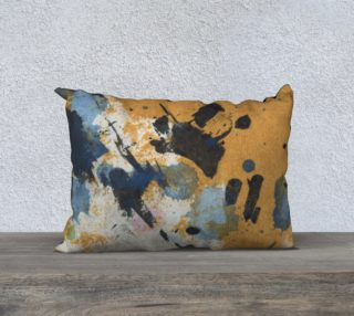 "blue and ocher abstract 20 x 14"" pillow preview"