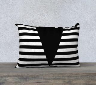 Aperçu de White Black Stripes Big Triangle pillow 20x14