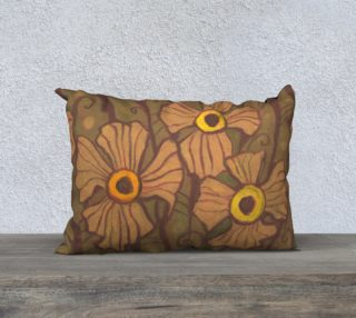 Yellow-eyed flowers, floral art, beige - brown - olive preview
