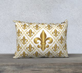 Gold Fleur-de-Lis Symbols Pattern on White preview