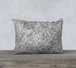 Grey and white swirls doodles 20 x 14 Pillow Case aperçu