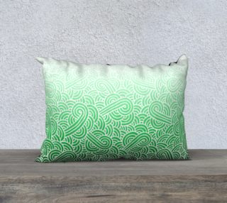 Ombre green and white swirls doodles 20 x 14 Pillow Case preview