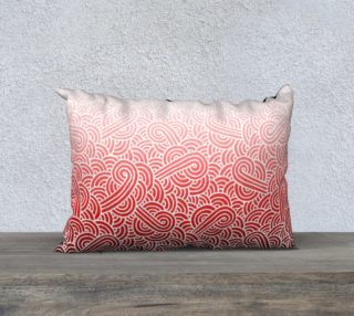 Ombre red and white swirls doodles 20 x 14 Pillow Case preview