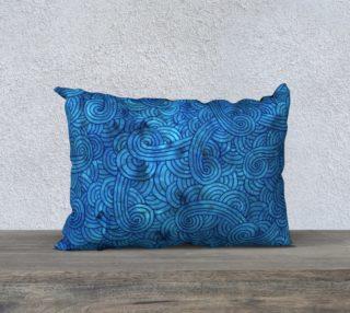 Turquoise blue swirls doodles 20 x 14 Pillow Case aperçu