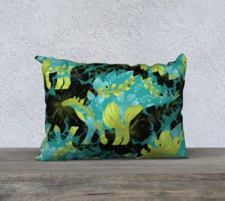 "Jurassic Pillow - Teal & Chartreuse 20""x14"" preview"