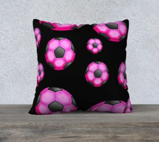 Pink and Black Soccer / Football Pillow Case 22x22 preview