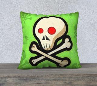 Cartoon Skull On Green 22 x 22 Pillow Case preview