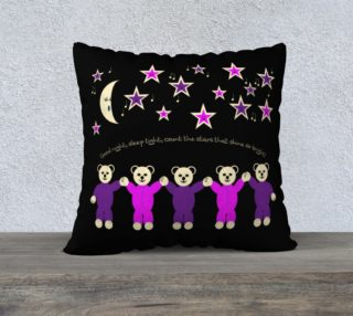 Purple and Pink Sleepy Bears Pillow Case 22 x 22 preview