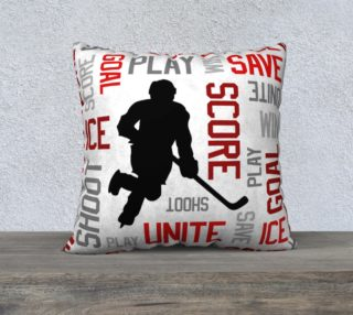 """For the Love of Hockey - Red Pillow Case - 22""""x22"""" preview"""