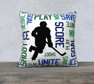 """For the Love of Hockey - Blue and Green Pillow Case - 22""""x22"""" preview"""