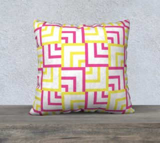 Pink and Yellow Squares 22x22 Pillow Case preview
