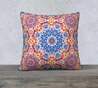"""Blue and Orange Kaleidoscope 22"""" x 22"""" Decorative Pillow Case preview"""