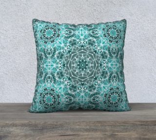 """Turquoise & Gray Kaleidoscope 22"""" x 22"""" Decorative Pillow Case preview"""