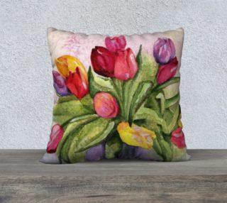 Colorful Tulip Bouquet Pillow Case preview
