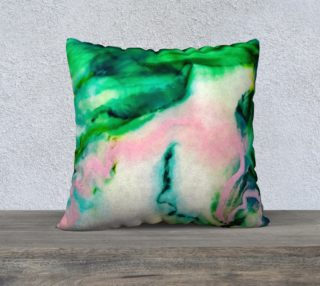 Green Pink Marble Abstract Painting Pillow preview