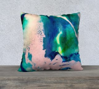 Pink Blue Marble Teal Abstract Pillow preview