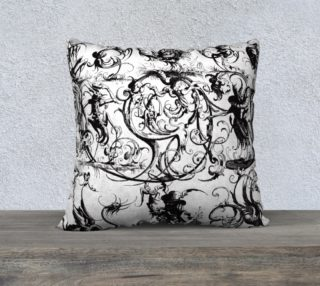 "Aperçu de Grotesques W&B - 22"" x 22"" Pillow"