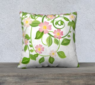 """Serene Floral Forest White Pillow Cover 22""""X22"""" preview"""