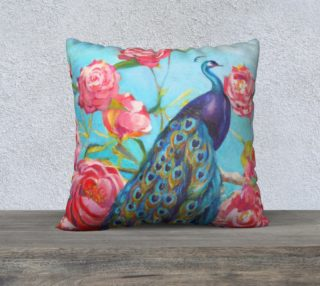 Peacock Floral Fantasy 22 x 22 Pillow preview