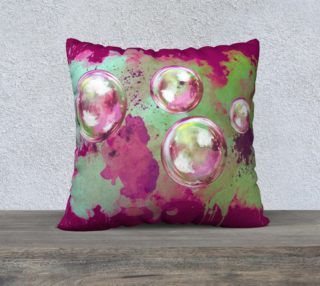 Pink and Green Soap bubbles in the sky watercolor preview