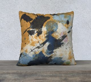 """ocher and blue abstract pillow 22"""" preview"""