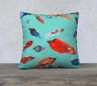 Fish-Birds on Turquoise  cushion cover preview