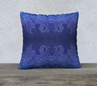 Blue Watercolor and Lace Pillow preview