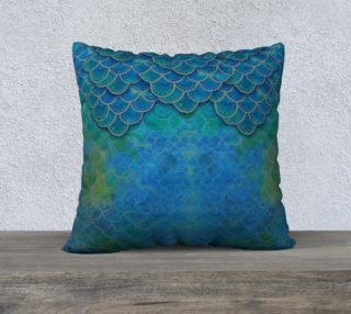 Aperçu de Mermaid Dragon Scale Watercolor Pillow 22x22
