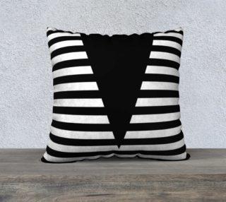 Aperçu de White Black Stripes Big Triangle pillow 22