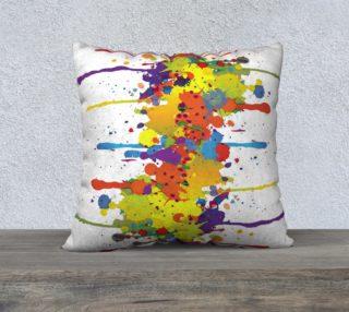 Aperçu de CRAZY multicolored double RUNNING SPLASHES pillow 22x22