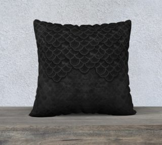 Black Handpainted Mermaid Dragon Scale Pillow preview