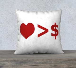 Love is more important  than Money Concept Illustration Throw Pillow preview