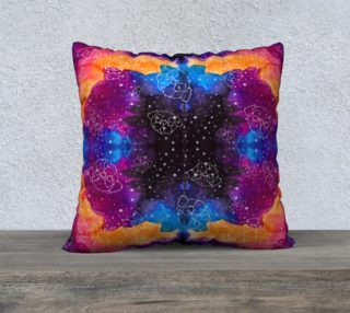 "Aperçu de Pug Constellations Pink Purple Orange 22"" Pillow"