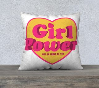 Throw Pillow Girl Power Heart Shaped Typographic Design Quote preview